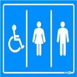 Placa SINALIZAÇÃO Banheiro Cadeirante Fem/Mas (20X15X0,80MM)