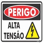 Placa SINALIZAÇÃO Perigo Alta TENSÃO (30X20X0,80MM)