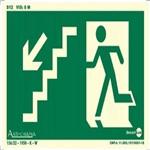Placa SINALIZAÇÃO Rota de Fuga Escada Des. Esq. Fotolum. (25X15)