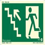 Placa SINALIZAÇÃO Rota de Fuga Escada Sub. Esq. Fotolum. (25X15)