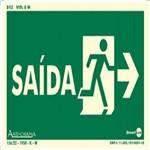Placa SINALIZAÇÃO Saida Direita Fotolum. (25X15)