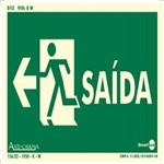 Placa SINALIZAÇÃO Saida Esquerda Fotolum. (25X15)