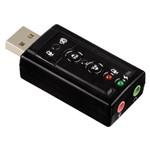Placa Som USB 7.1 Canais Notebook Computador Adaptador Áudio