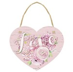 Placa TAG MDF Decorativa Litoarte DHT-005 12x10cm Coração Love