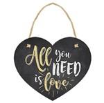 Placa TAG MDF Decorativa Litoarte DHT-007 12x10cm Coração All You Need Is Love