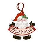 Placa TAG MDF Decorativa Natal Litoarte DHT4N-004 8,6x8,4cm Papai Noel Feliz Natal