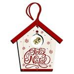 Placa TAG MDF Decorativa Natal Litoarte DHT5N-003 12,5x12,5cm Casa com Guizo