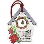 Placa TAG MDF Decorativa Natal Litoarte DHT5N-009 12,7x9,5cm Casinha Bege com Guizo