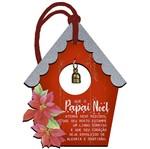 Placa TAG MDF Decorativa Natal Litoarte DHT5N-010 12,2x9,5cm Casinha Vermelha com Guizo