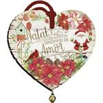 Placa TAG MDF Decorativa Natal Litoarte DHT5N-011 9x9,8cm Coração com Guizo
