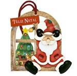 Placa TAG MDF Decorativa Natal Litoarte DHT7N-002 14,2x13,5cm Papai Noel Pendurado
