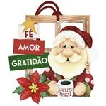 Placa TAG MDF Decorativa Natal Litoarte DHT7N-001 14x14,2cm Papai Noel Café