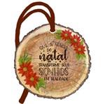 Placa TAG MDF Decorativa Natal Litoarte DHT8N-001 8x8cm Tronco Frase