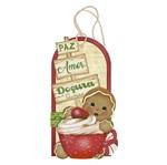 Placa TAG MDF Decorativa Natal Litoarte DHTN-006 14,6x7,9cm Biscoito Natalino Gingerbread