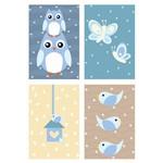 Placas Decorativas Coruja Baby Azul MDF 20x30cm Kit 4un
