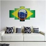 Placas Decorativas em MDF Bandeira do Brasil 5 Unidades