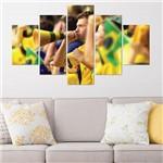 Placas Decorativas em MDF Futebol Torcida Verde Amarela 5 Un