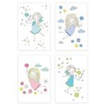 Placas Decorativas Menina e Flores MDF 20x30cm Kit 4un