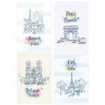 Placas Decorativas Paris Ilustrada para Sala 20x30 Kit 4un