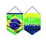 2 Placas P/Porta Vai Brasil 30X40Cm