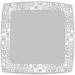Plafon Mosaico Quadrado Grande 38x38cm Metal/Vidro Branco - Attena