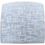 Plafon Textura Quadrado Grande 38x38cm Metal/Vidro Branco - Attena
