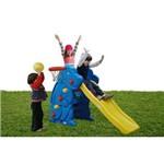 Playground Escorregador Cachorro com Cesta de Basquete Azul Alpha Brinquedos