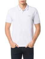 Polo Calvin Klein Slim Básica com Logo no Peito Branco - P