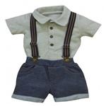 Polo e Shorts com Suspensório Infantil Grow Up Menino em Algodão Island
