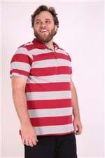 Polo Listra Larga Plus Size Vermelho P