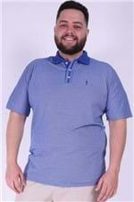 Polo Malha Diferenciada com Gola Plus Size Azul M
