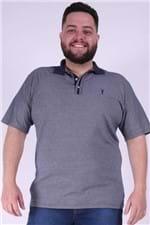 Polo Malha Diferenciada com Gola Plus Size Azul Marinho M