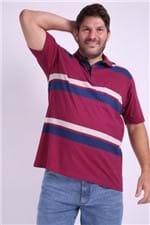 Polo Masculina Listrada Plus Size Vinho M