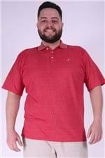 Polo Masculina Malha Mesclada Plus Size Vermelho G