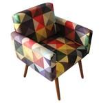 Poltrona Cadeira Decorativa Beatriz Recepção Sala Consultório Suede Estampa Triangulo - AM DECOR