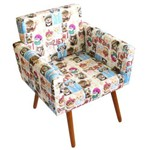 Poltrona Cadeira Decorativa Beatriz Recepção Sala de Estar Escritório Estampa Gatinho Cats - AM DECOR