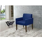 Poltrona Cadeira Decorativa Lais Sala Escritório Suede Azul Marinho