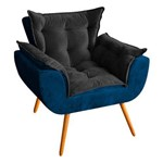 Poltrona Decorativa Odisseia Veludo Peach Azul Marinho/Preto - D'Rossi