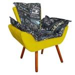 Poltrona Decorativa Opala Composê Estampado Preto Escrito D62 e Suede Amarelo Canario - D'Rossi