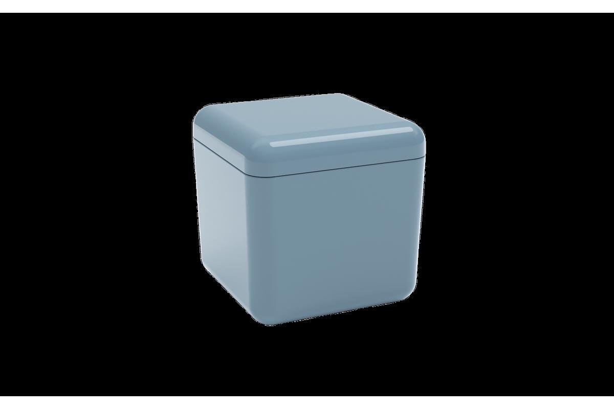 Porta-algodão/cotonete Cube - AZF 8,5 X 8,5 X 8,5 Cm Azul Fog Coza