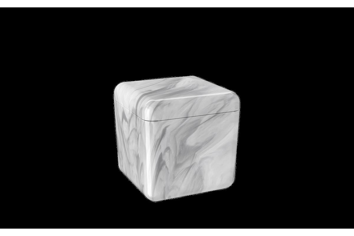 Porta-algodão/cotonete Cube - MBC 8,5 X 8,5 X 8,5 Cm Mármore Branco Coza