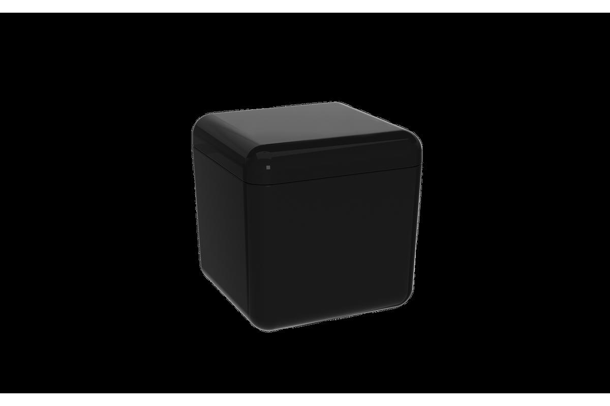 Porta-algodão/cotonete Cube - PT 8,5 X 8,5 X 8,5 Cm Preto Coza