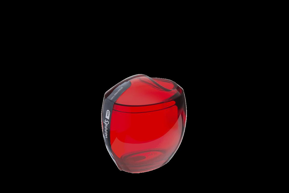 Porta-Algodão/Cotonetes - Spoom 10,8 X 10,6 X 8,5 Cm Vermelho Transparente Coza