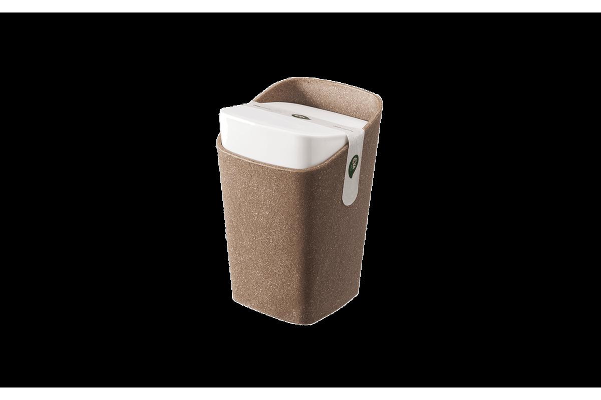 Porta-Algodão - Square Bios 8,2 X 8,2 X 12,3 Cm Bios com Branco Coza