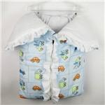 Porta Bebê Masculino Azul Claro Estampado Carrinho