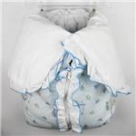 Porta Bebê Masculino Azul Claro Estampado Ursinho e Barquinho