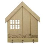 Porta Chaves em MDF 32,7x26,5cm Home Sweet Home 3 Ganchos - Palácio da Arte