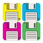 Porta Copos Disquetes Coloridos Porta Copos Disquete