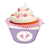 Porta Cupcake Baby Shower Rosa 08 Unidades