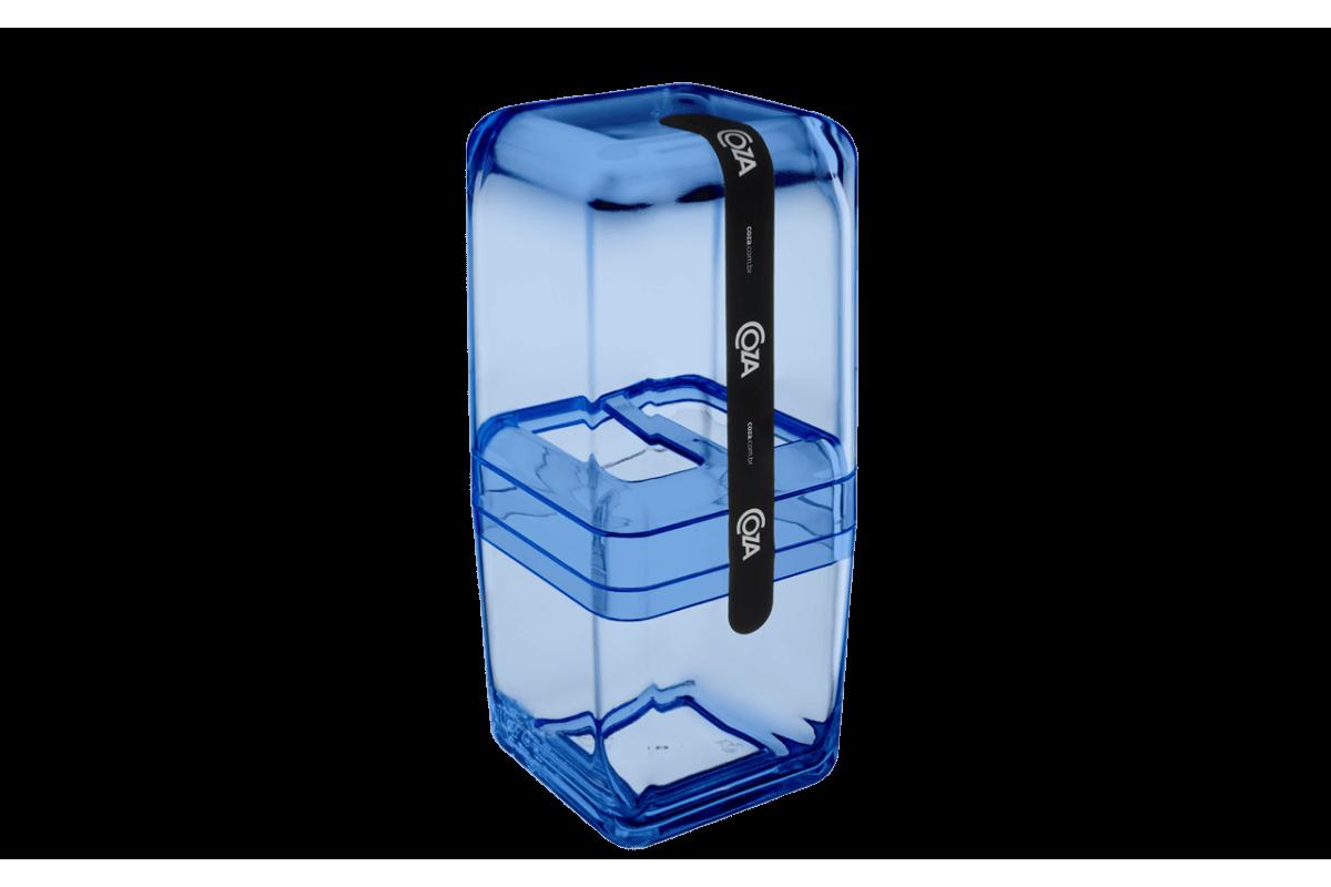 Porta Escova com Tampa - Cube 10,4 X 8,3 X 2,1 Cm Azul Coza